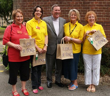 The TOGs show off their bags to Sir Terry Wogan at the TOGs Convention